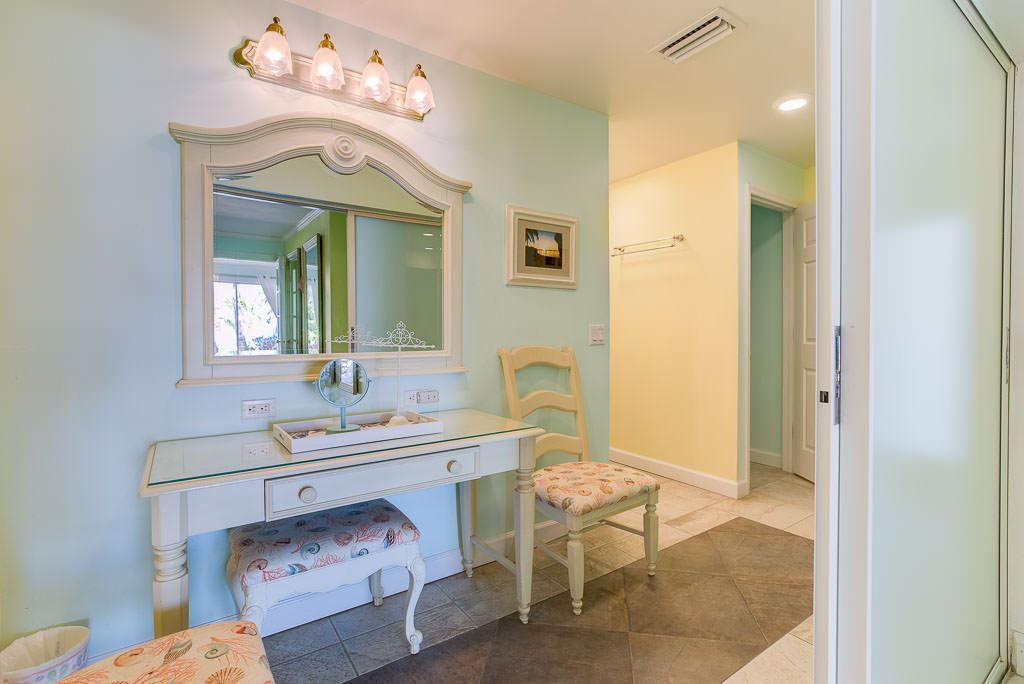 The bathroom is large enough for your hair and makeup people to work. The combination of the bride's room and the bridesmaid's rooms is enormous. You would never expect an area this large for you and your bridesmaids to prepare in any hotel or beach house you would rent for your wedding.